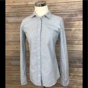 J. Crew button up pinstripe shirt boy fit blue